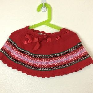 OshKosh 2T Red Cotton, Wool, & Nylon  Blend Skirt